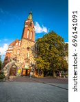 Small photo of Sopot,Poland-September 7,2016:Garrison Church tower, religious architecture.