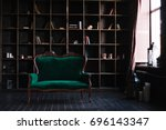 a huge shelving for books and a ... | Shutterstock . vector #696143347