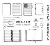 vector set of sketch notebooks  ... | Shutterstock .eps vector #696144535
