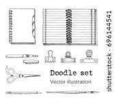 vector set of sketch notebooks  ... | Shutterstock .eps vector #696144541