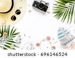 traveler accessories  tropical... | Shutterstock . vector #696146524