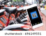bicycle sharing service or... | Shutterstock . vector #696149551