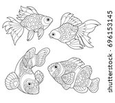 coloring page of goldfish and... | Shutterstock .eps vector #696153145