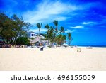 beautiful sunny day on the... | Shutterstock . vector #696155059