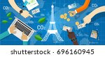 paris agreement climate accord... | Shutterstock .eps vector #696160945