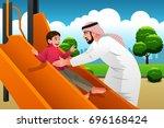 a vector illustration of muslim ... | Shutterstock .eps vector #696168424