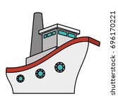 cruise boat isolated icon | Shutterstock .eps vector #696170221