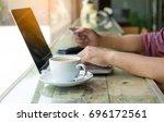 man hands using laptop and... | Shutterstock . vector #696172561