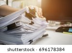 businessman hands working in... | Shutterstock . vector #696178384