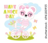 cute baby panda rides bicycle... | Shutterstock .eps vector #696183955
