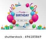 happy birthday typography...   Shutterstock .eps vector #696185869