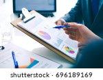 business people shaking hands ...   Shutterstock . vector #696189169