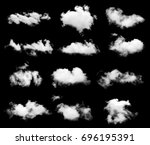 Set White Cloud Isolated Black - Fine Art prints