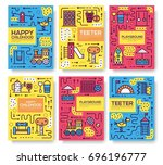 set of thin line kids pattern... | Shutterstock .eps vector #696196777