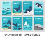 set of sea mammals pattern... | Shutterstock .eps vector #696196831