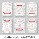 animal vector brochure cards... | Shutterstock .eps vector #696196849