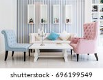 lounge sofa and colorful pillow ... | Shutterstock . vector #696199549