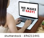 we make it easy  business team... | Shutterstock . vector #696211441