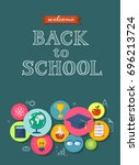 back to school flat style... | Shutterstock .eps vector #696213724