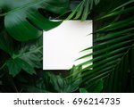 real leaves with white copy... | Shutterstock . vector #696214735