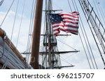 American Flag Blowing In Wind...