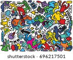 vector line art doodle cartoon... | Shutterstock .eps vector #696217501