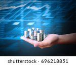 hand human hand putting coin to ... | Shutterstock . vector #696218851