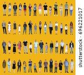 diversity people set gesture... | Shutterstock . vector #696221017