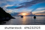 beautiful  boats in the sea on... | Shutterstock . vector #696232525