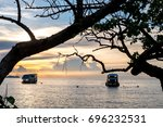 beautiful boats in the sea on a ... | Shutterstock . vector #696232531
