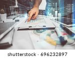 project manager sharing with... | Shutterstock . vector #696232897