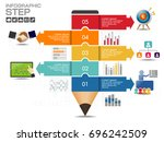 business data process chart.... | Shutterstock .eps vector #696242509