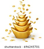 gold coins falling on chinese... | Shutterstock . vector #696245701