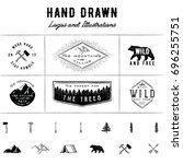 Rustic Logos and Illustrations - 6 pre-made logos and 13 hand drawn illustrations.   | Shutterstock vector #696255751