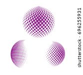 set of abstract round 3d purple ... | Shutterstock .eps vector #696255931