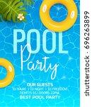 pool summer party invitation...   Shutterstock .eps vector #696263899