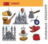 turkey travel tourism famous... | Shutterstock .eps vector #696264559