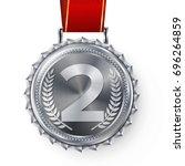 silver medal vector. silver 2nd ...   Shutterstock .eps vector #696264859