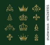 set of crowns. set of royal... | Shutterstock .eps vector #696265501