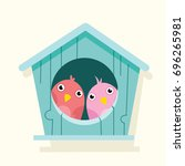 cartoon cute bird in birdhouse | Shutterstock .eps vector #696265981