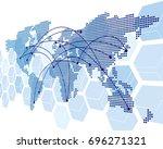 world map vector  | Shutterstock .eps vector #696271321