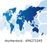 world map vector  | Shutterstock .eps vector #696271345