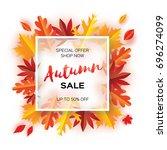 beautiful autumn paper cut... | Shutterstock .eps vector #696274099