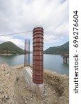 construction of lake bridge    Shutterstock . vector #696276604