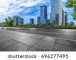 empty asphalt road floor front... | Shutterstock . vector #696277495