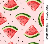 watermelon pattern vector | Shutterstock .eps vector #696278059