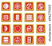 japan food icons set in red... | Shutterstock .eps vector #696279205