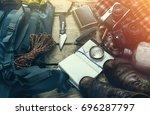 travel tourism equipment on... | Shutterstock . vector #696287797