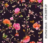 vintage seamless pattern  bird  ... | Shutterstock .eps vector #696288919