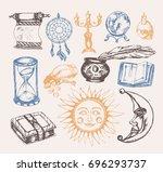 mystical arts   vector vintage... | Shutterstock .eps vector #696293737